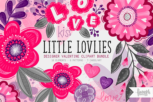 Valentine's Day Clipart Graphics Valentine Cute Valentines Day Pink Valentine's Day Conversation Heart Purple Pink Flowers Hu