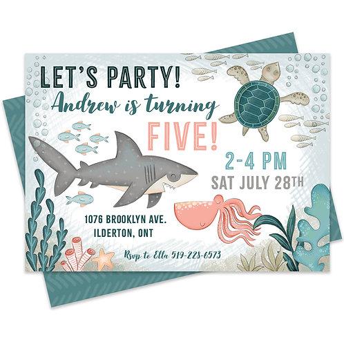 Under the Sea Shark Birthday Birthday Invitation Birthday Party Ocean Invitation Shark Fish Printable Custom Party Invitation