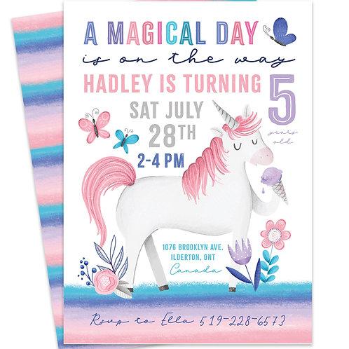 Unicorn Invite, Unicorn Birthday Party, Rainbow Unicorn Invite, Pastel Unicorn Birthday Party