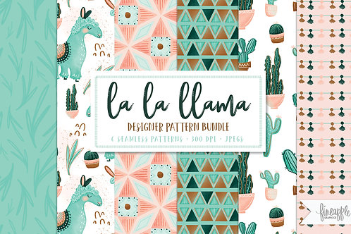 Llama Digital Paper, Boho Chic Digital Paper, Llama Clip art, Alpaca and Cactus, Cute Cactus Clipart, Cacti Digital paper, Mi