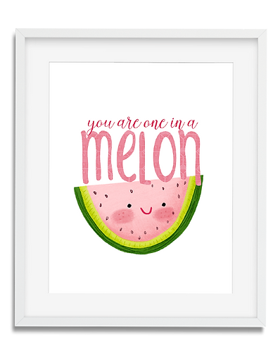 You're one in a Melon, fruit wall art, kids wall art, cute fruit wall art, kids room decor, kids whimsical artwork, modern