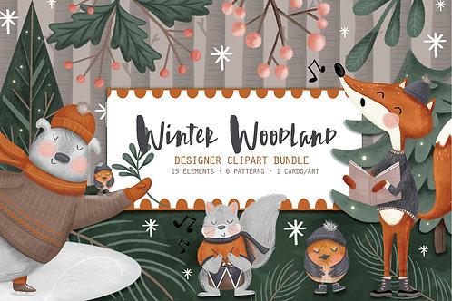 Winter woodland Graphics, Winter Clipart Bundle, Christmas Clipart, Woodland Winter Clipart, Hand Drawn Illsutration