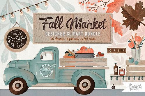 Fall Clipart, Autumn Clipart, Fall Market Clipart, Fall flowers Clipart, Pumpkin Clipart, Fall Farm Market Clipart, Fall patt