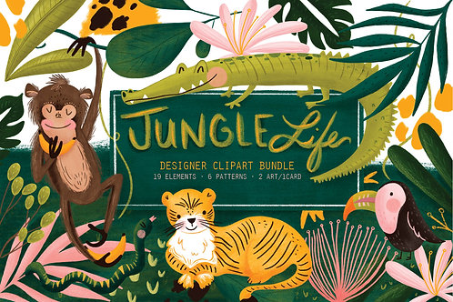 Whimsical Jungle Clipart, Jungle Digital Paper, Jungle animals Clipart, Seamless Patterns, Jungle Kids Clipart