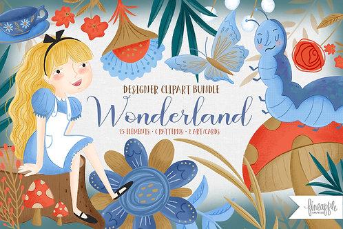Alice Adventure Clipart, Wonderland Clipart, storybook clip art, floral Clipart, wonderland Digital paper, Tea Party Clipart,