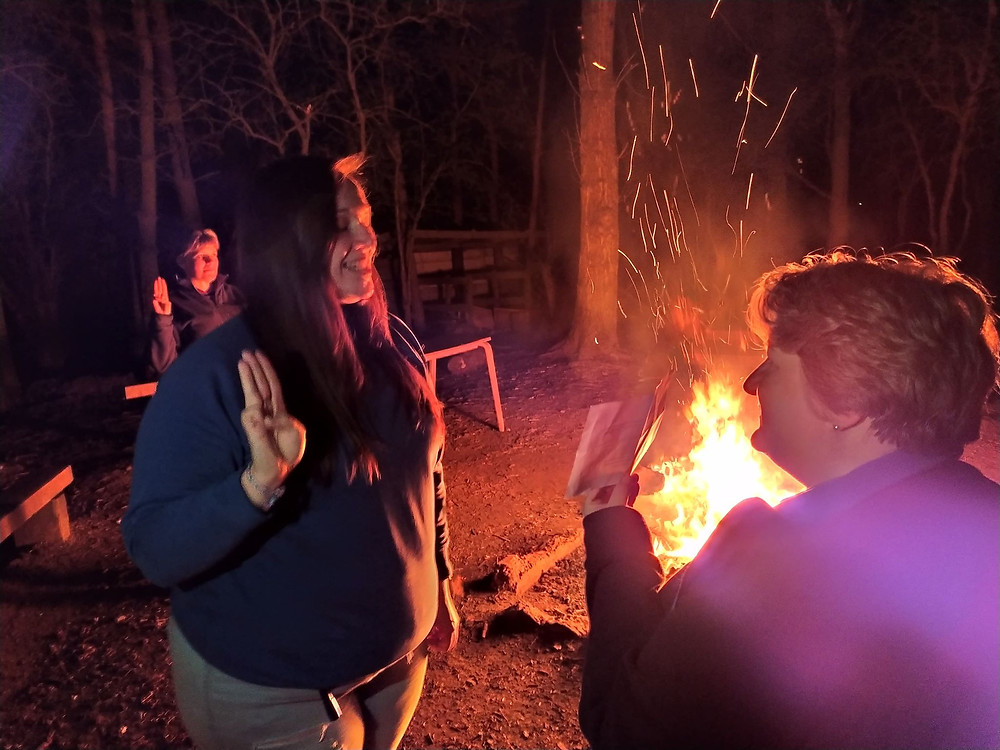New Guide Leader makes her promise around the campfire
