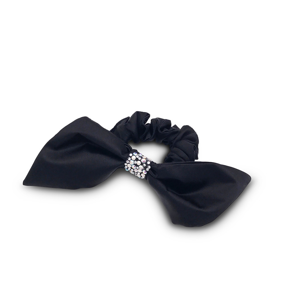 Silk Bow scrunchie-black silk £130.00