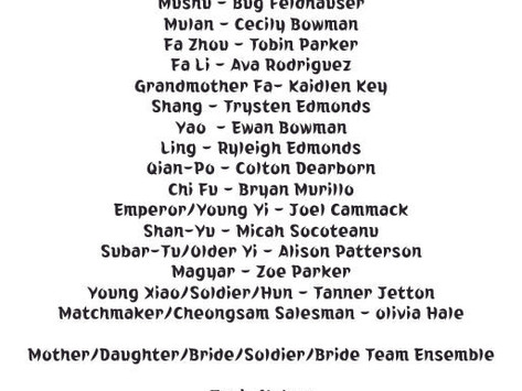 Mulan Jr. Cast List!!!!
