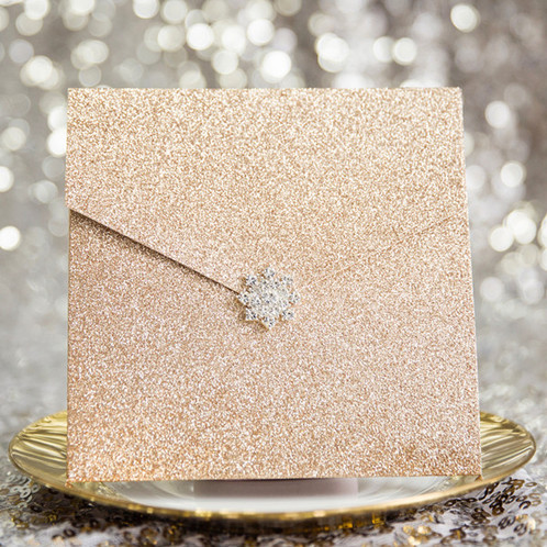 modern and glittery rose gold pocket wedding invitation