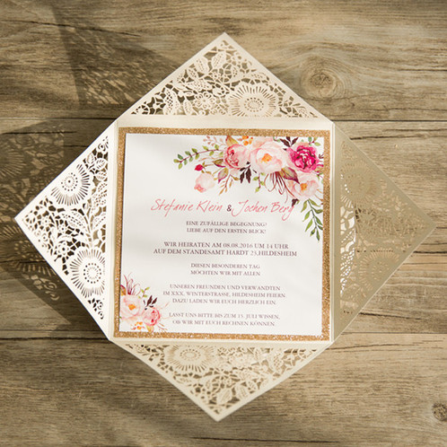 Bohemian Spring Flowers Laser Cut Wedding Invitation Wedding and
