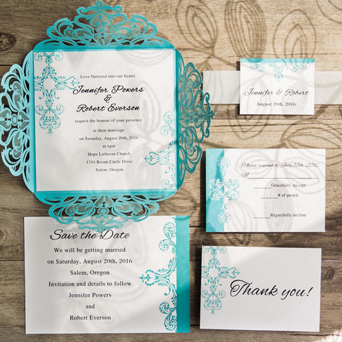 Wedding Invitations Tiffany Blue Laser Cut
