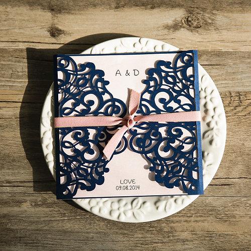 Wedding Invitations Laser Cut Blush Pink Blue Classic Navy