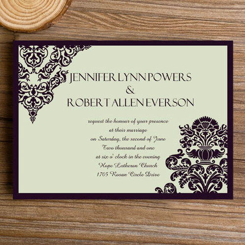 affordable and formal damask invitation