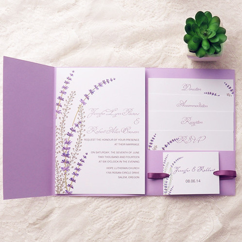 Wedding Invitations, Romantic Lavender Wedding, Pocket Wedding Invitations,  Elegant Invites, Ribbon Invites ...