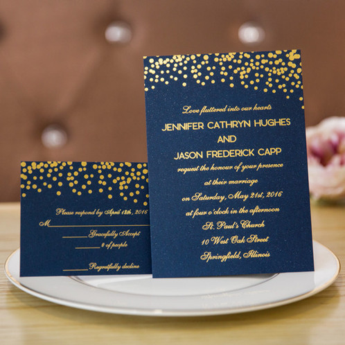Wedding Invitations Navy Blue And Gold Foiled Invites