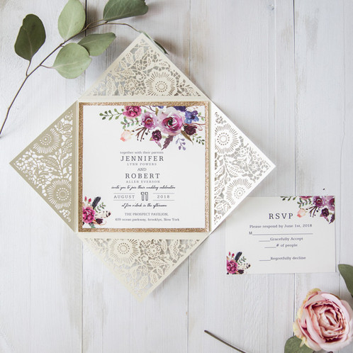 bohemian floral and glitter laser cut wedding invitation