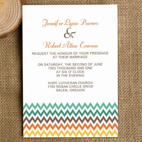 rainbow chevron modern simple invitation
