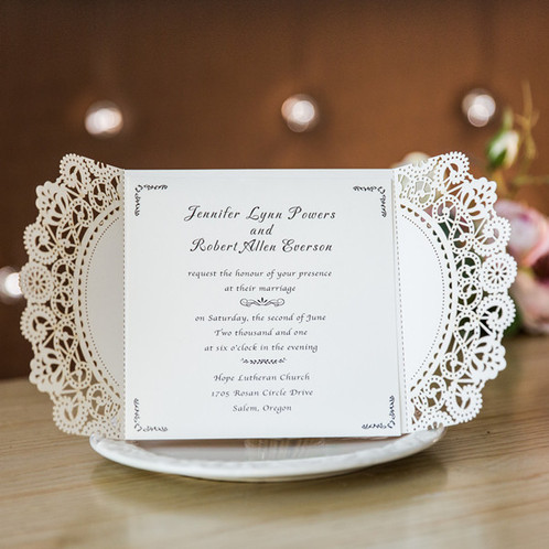 Wedding Invitations, Elegant Wedding Invites, Lace, Rose Gold Wedding,  Laser Cut Wedding ...