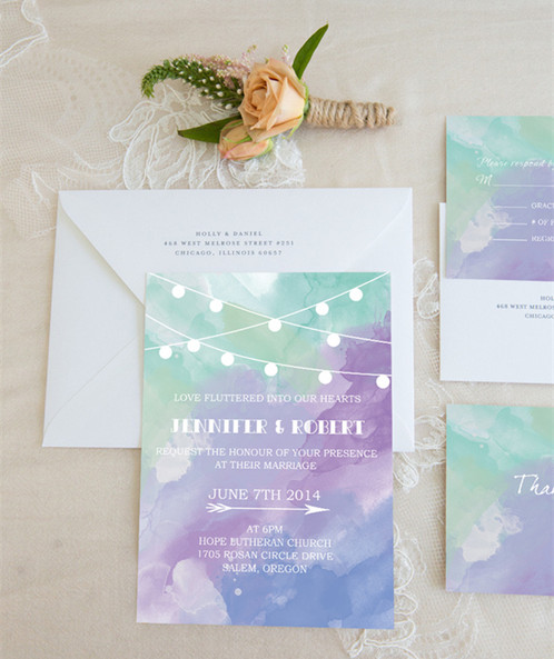 blue purple and green watercolour string lights invitation