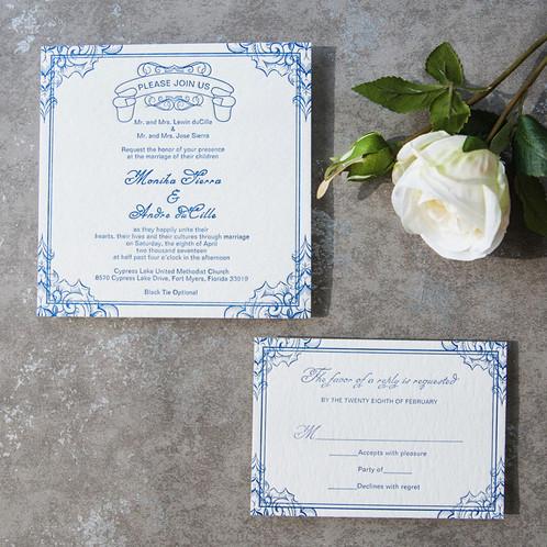 Letterpress Wedding Invitations.Blue Simple Vintage Letterpress Invitation