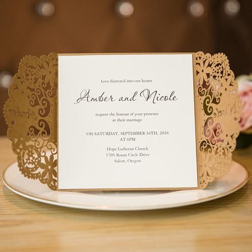Wedding Invitations, Fancy Craft Invites, Elegant Wedding Invites, Laser  Cut Wedding Invitations, ...