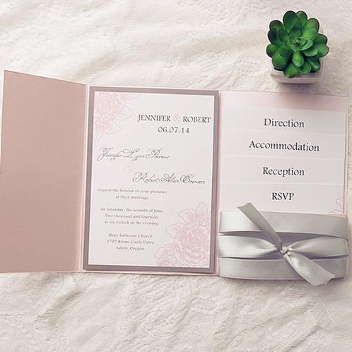 Blush Pink Spring Flower With Silver Ribbon Wedding Invitation