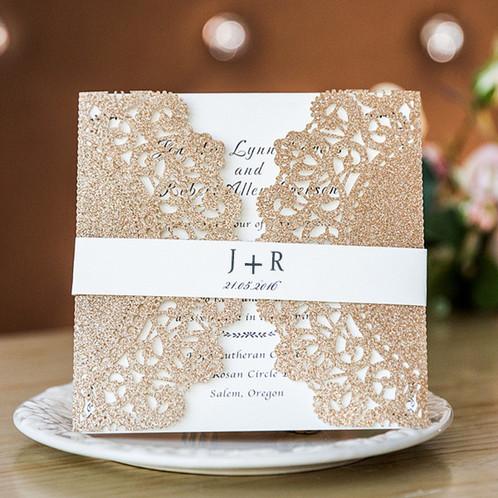 Wedding Invitations Elegant Invites Lace Rose Gold Laser Cut