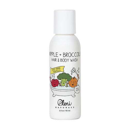 Travel Size Pleni Naturals Apple+Broccoli Hair & Body Wash 60mL
