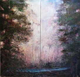 An der Quelle 190 x 200cm (2 - teilig)  Acryl auf Leinwand