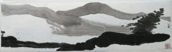 Return 20x 70cm chinese ink on rice paper