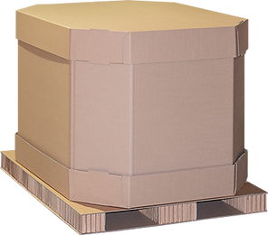 © Innovative Enterprises, Inc. Bulk Pack Combo Box on Paper Pallet Top Cap On