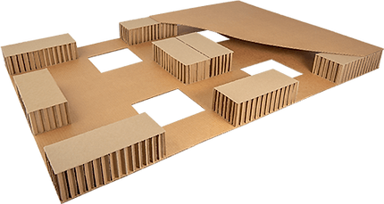 © Innovative Enterprise, Inc. Paper Pallet cutaway showing honeycomb supports