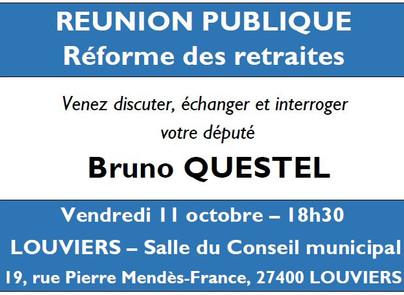 Réforme des retraites - réunion publique de Bruno QUESTEL à Louviers le 11/10.