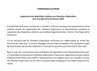 Bruno QUESTEL salut la décision du Gouvernement de supprimer les dispositions relatives aux Chambres