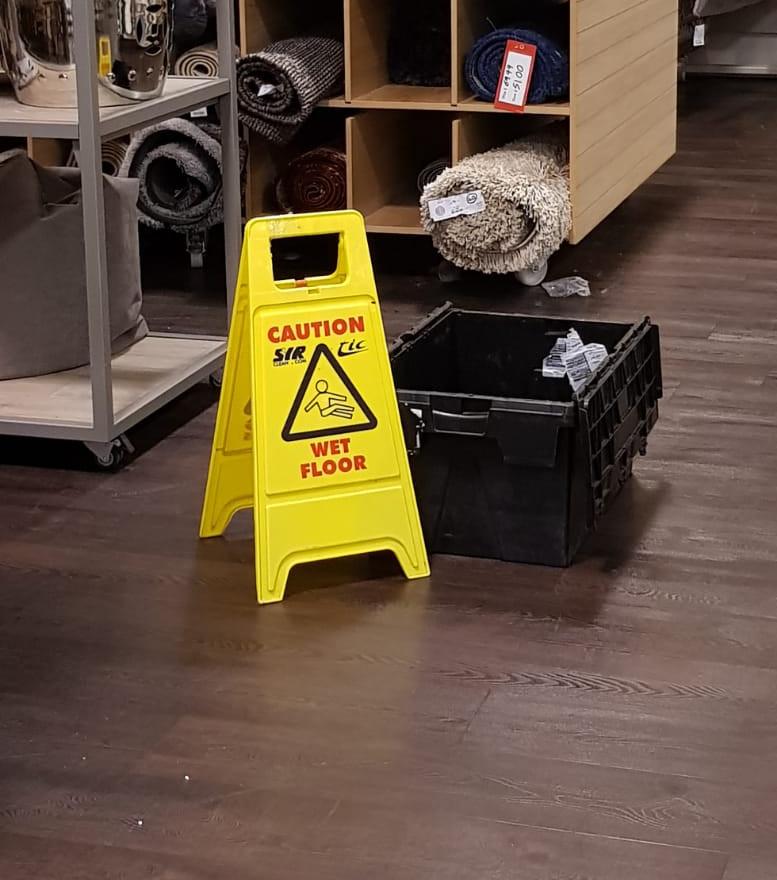 Leak in a retail area