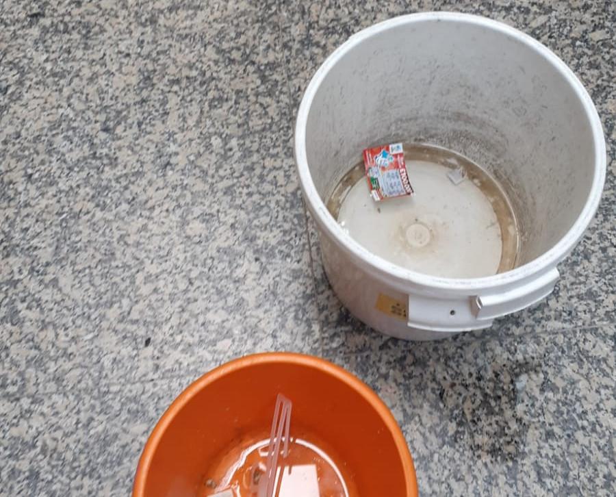 Empty buckets in place in case of leaks