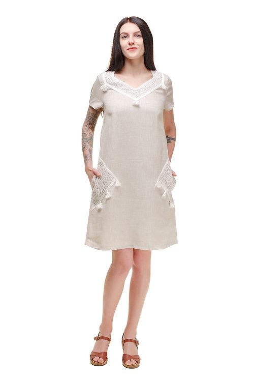 Платье из льна, расширеное льняное платье, сукня з льону