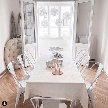 Stůl velký - bílé překližkové prkno - bílé nohy - Master & Master