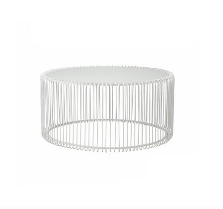 Lounge stolek WIRE široký - bílý / set 2 ks