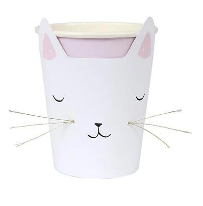 Papírový kelímek - kočička s fousky