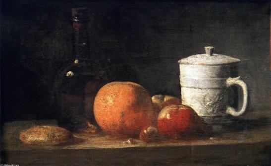 Chardin - Still Life with tin, glazd jar, fruit and bottle