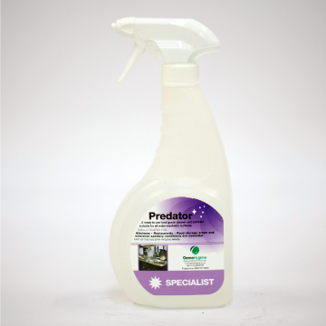 Predator is a nonionic and cationic surface cleaner ideal for kitchens as it contains a powerful degreasing agent that eliminates and disinfects harmful substances and bacteria.