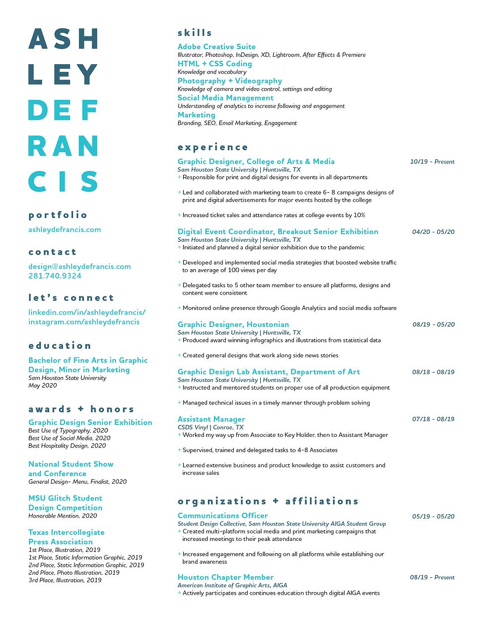 Ashley Defrancis Graphic Design Resume