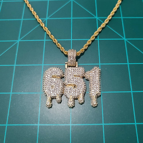 651 Iced Out, Gold, Pendant's w/ FREE Tennis Chain, v2
