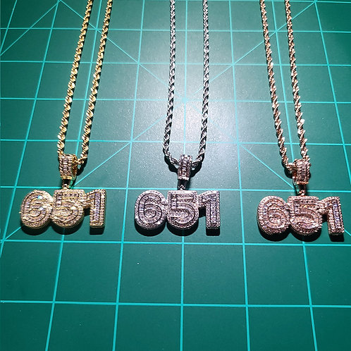 651 Iced Out, Pendant's w/ FREE Rope Chain, v1