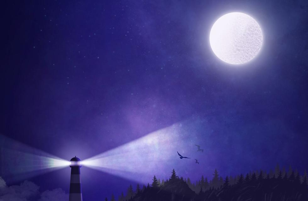 Lighthouse & Purple skies