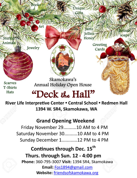 """Deck the Hall"" Christmas and Holiday Open House-Opening day/weekend begins Friday Nov. 29"