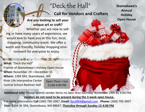 Call for vendors and crafters for Friends of Skamokawa's Annual Holiday Open House
