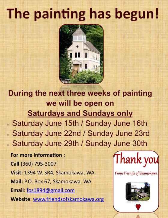 We will be closed on Thursdays & Fridays for the next 3 weeks during painting