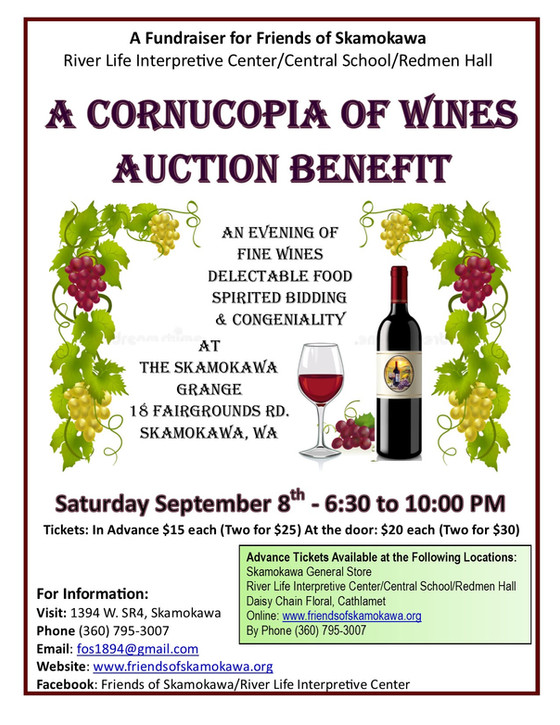 "Friends of Skamokawa's 28th annual ""Cornucopia of Wines"" Wine Gala & Auction"